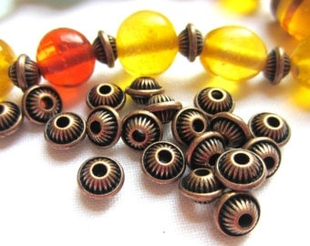 30 Beads copper spacers jewelry making supply 7mm 5mm  MNB bicone beads (W1)