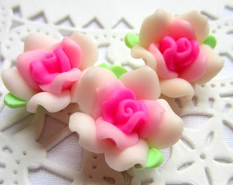 8 Polymer Pink Rose Beads victorian chic jewelry making supplies
