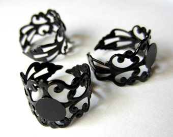 Ring blank  adjustable 5 black  filigree Gothic jewelry supplies