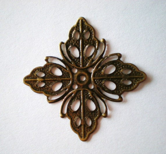 8 filigree jewelry craft findings nickel free bronze 35x35x2mm