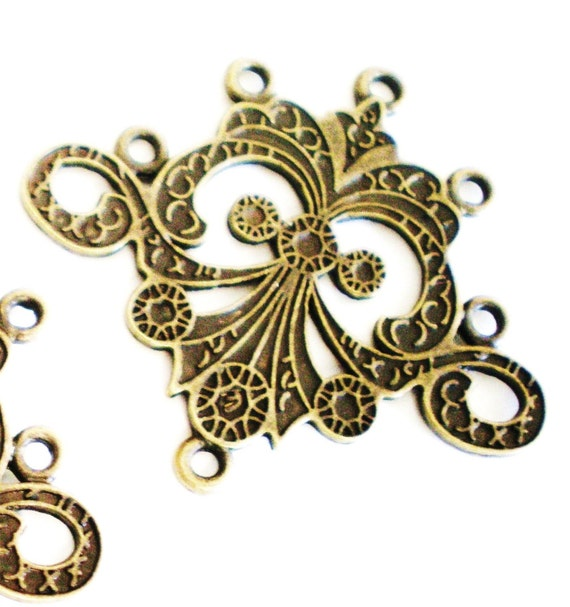 6 bronze earring chandeliers jewelry pendants  components 37mm 33mm MWA