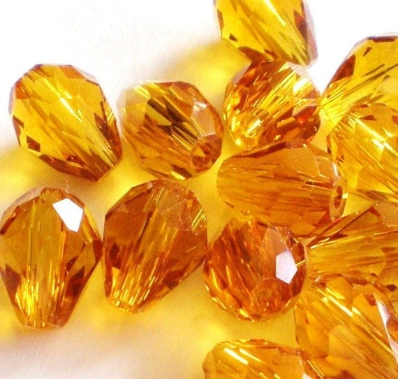 crystal beads faceted  20 teardrop gold amber topaz 9mm 5mm  B42