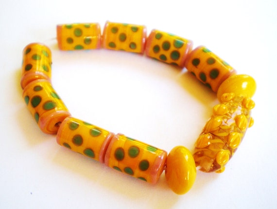 11 Handmade lampwork glass beads yellow bead set earring jewelry supply