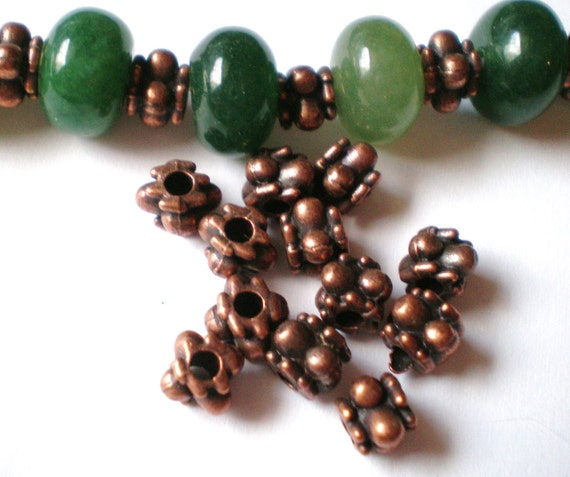 36 Beads copper spacers jewelry making supply 6mm 6mm