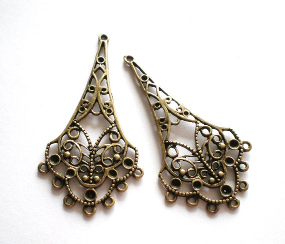 Earring  findings jewelry supplies 6 earring chandeliers antique bronze metal 25mm 58mm