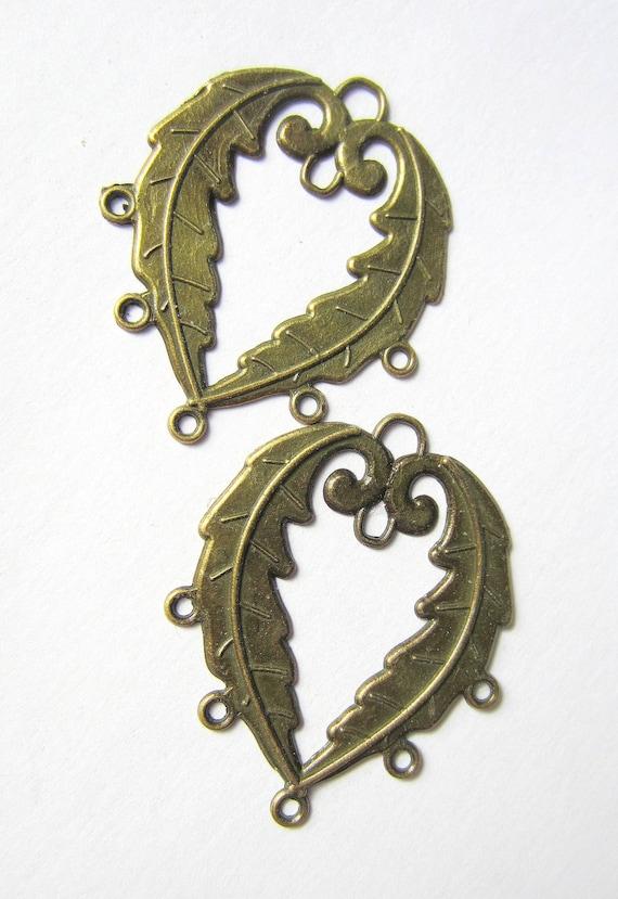 6 Boho chic dangle earring chandeliers bronze finish  earring findings btonze jewelry connectors 30mm 40mm (F2)
