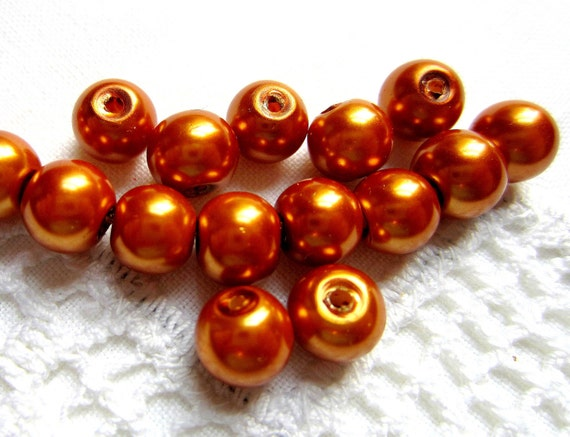 30 Pearl Beads copper glass beads 8mm supplies diy jewelry making JHN