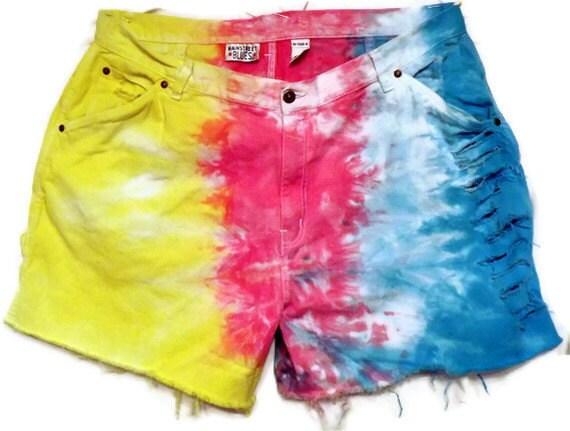 Size 42 Waist Rainbow  Denim Cut Off Shorts Turquoise  Yellow Pink Tie Dyed XXL  Size 26