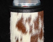 Deep Red and White Speckled Genuine Cowhide Leather Soda or Beer Can Insulator