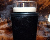 Set of  2 - Pint or Coffee Cowhide Leather Insulator for Kiosk Coffe Cup or Pint Glass - Your Choice of Cowhide Colors