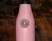 Womens Gift Pink Leather Cowhide Beer Bottle Insulator with Swarovski Berry Bling/Beer Holder/Coolie