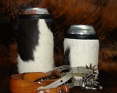 Beer Holder Montana Cowhide Leather Can Insulator - Dark Chocolate Brown and White Cowhide for Beer, Water or Soda