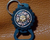 Black Hills Tri Colored Bling Swarovski Crystal Key Ring/ Beer Bottle Opener - Black Gold Silver Swarovski Stones