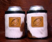 Set of 2 Cowhide Tri Can Koozie with Football or Wildlife Leather Concho  - Football AND Hunting