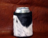 Beautiful Black & White Speckled Cowhide Leather Can Insulator - Black and White At Its Best