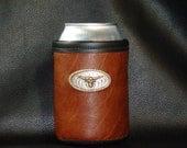 Bison Leather Can Insulator - Beer Beverage Holder - Texas Longhorn - Leather Coolie - Beer Holder - Leather Beer Holder -
