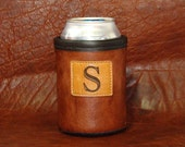 S is for Super Dad -  Custom Monogramed Bison Leather Can Coolie with Custom Leather Patch Concho-