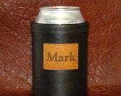 Custom Monogramed Bison Leather Can Insulator  - Mens Gift - Custom Beer Holder - Can Beer Coolie - Beverage Holder