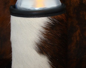 Three Times the Fun With This Cowhide Leather Can Insulator - Tri Colored Beverage Holder Coolie