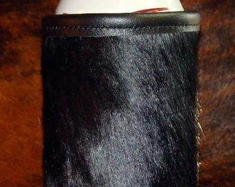 Wedding - Groomsmen - Cowhide Beverage Holder -  Beer Coolie - Purest of Black Cowhide -  Red Sky Insulator - Cowhide Leather Can -