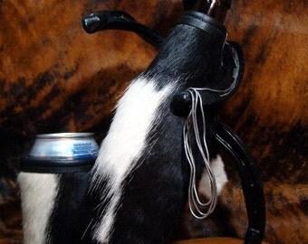 Set of 2  - Cowhide Insulators - Wedding - Bride & Groom - Groomsmen - Beer Bottle - Can Cooler -  Black/White  - Red Sky Beverage Holders