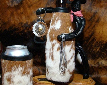 Set of 2 - Cowhide Leather Beer Bottle and Can Insulators  - Exotic Red/White Speckled