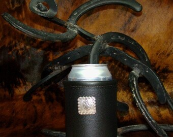 Bold Black Leather Can Insulator with Cowboy Concho