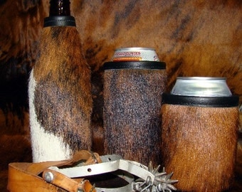 Pure Western  - Tri Colored Cowhide Leather Beer Bottle Insulator for Icy Cold Beer
