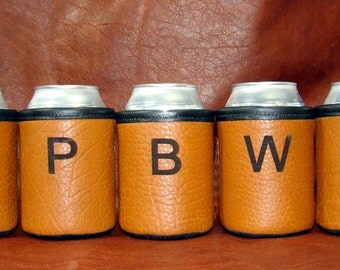 Leather Beer Holder -  8 Customized Bison Leather Can Koozies for Ranch, Corporate, Wedding, Cabin, Lake House, or Groomsmen -
