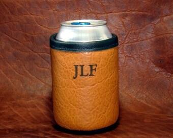 Custom Bison Leather Can Insulator-Beer Holder- Beverage Holder - Custom Monogram Direct Laser Image- Saddle Bison Color Only
