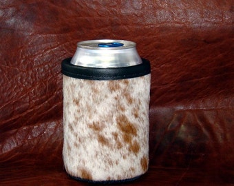Cowhide Leather Can Insulator  - Exotic Red/White Speckled Cowhide - Beer Holder - Can Coolie - Leather Beer Holder - Cowhide Coolie