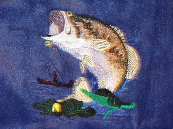 FATHER'S DAY READY - Bass Fish Embroidered Powder Blue Ultra Soft Fleece Blanket - Fishing Memories