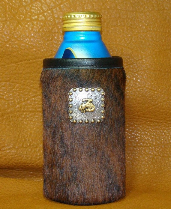Montana Rust Brindle Cowhide Tall Boy/Water Bottle Insulator - Keep Your Drinks Icy Cold
