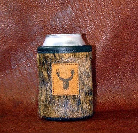 On The Hunt - Cowhide Leather Brown Brindle Can Insulator - Elk - Whitetail  - Mule Deer Trophy