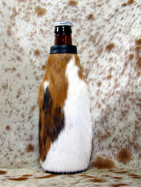 White Tri Colored Brindle Cowhide Leather Beer Bottle Coolie - Beer Ready