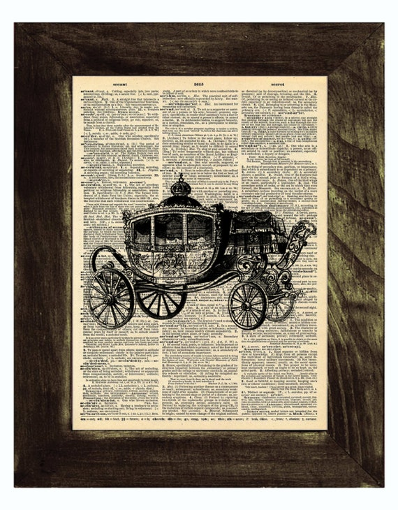 8 x 10 Cinderella Carriage Vintage Dictionary Print