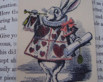 White Rabbit Small Hearts and Tarts Bookmark (laminated)