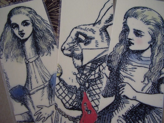Set Two Alice in Wonderland - Set of 3 Bookmarks (laminated)