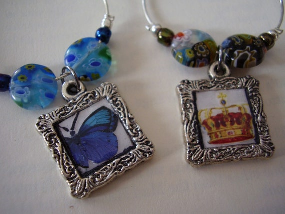 Butterflies and Crown Wine Charms - Set of 4