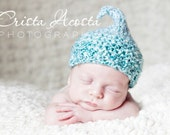 Knitted Kiss Elf Hat for Newborn Baby, Aqua Blue White Acrylic Yarn, Photography Prop