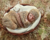 KNIT SAC for Newborn Baby Cocoon or Wrap for Infant Baby Photography Prop