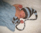 BABY BOY HAT  -  Knit in Stripes of Brown Tweed and Baby Blue with Long Braid and Large Pom Pom, Photography Prop
