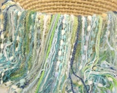 "Fringed Blanket 2' x 2' Fringe-Oodles ""Over"" in Blue and Green Novelty Yarns for Baby Pictures and a Photography Prop"