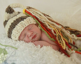 Knit Baby Boy HAT Bulky Brown Tweed and White Hat for Newborn with Large Multi Colored Tassel, Photography Prop