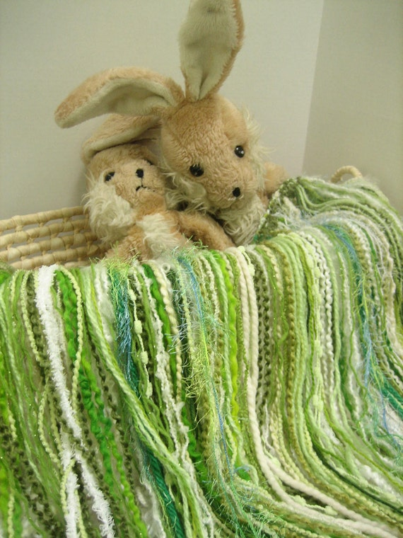 "Fringed Blanket 2' x 2' Fringe-Oodles ""Over"" in Green and White Novelty Yarns for Baby Pictures and a Photography Prop"