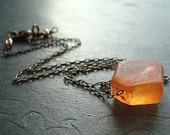 Tangerine Orange Recycled Glass Antiqued Brass Necklace - Marmalade