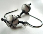 Black and White Earrings, Black Line White Jasper Oxidized Sterling Silver Dangle - Zebra