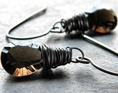 Dark Brown Smoky Quartz Oxidized Sterling Silver Dangle Earrings - Sexual Chocolate