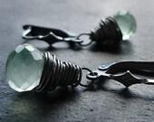 Mint Green Prehnite Sterling Silver Leverback Earrings - Limeade
