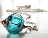 Teal Lampwork Hollow Necklace, Aqua Blue Lampwork Glass Hollow Pendant Sterling Silver Necklace - Jane